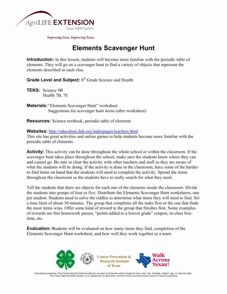 Periodic Table Scavenger Hunt Worksheet 50 Hunting the Elements Worksheet Answers In 2020 with