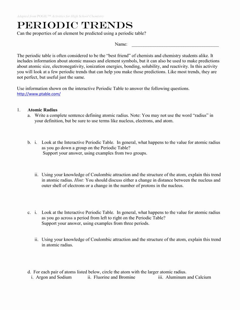 Periodic Trends Worksheet Answers 50 Periodic Trends Worksheet Answer Key In 2020