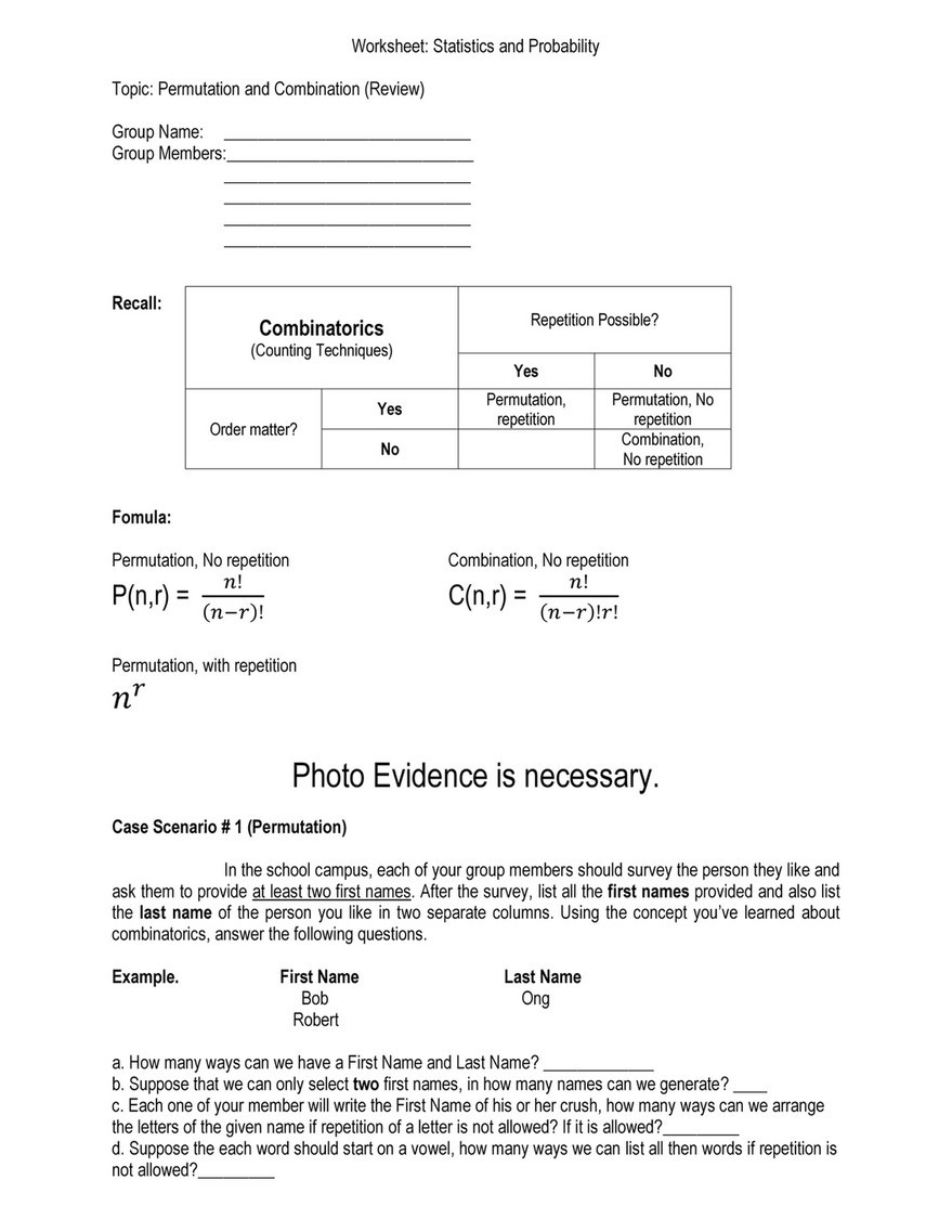 Permutations and Combinations Worksheet My Publications Permutation and Bination Page 1