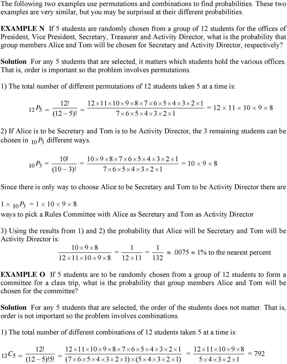 Permutations and Combinations Worksheet Permutations and Binations Pdf Free Download