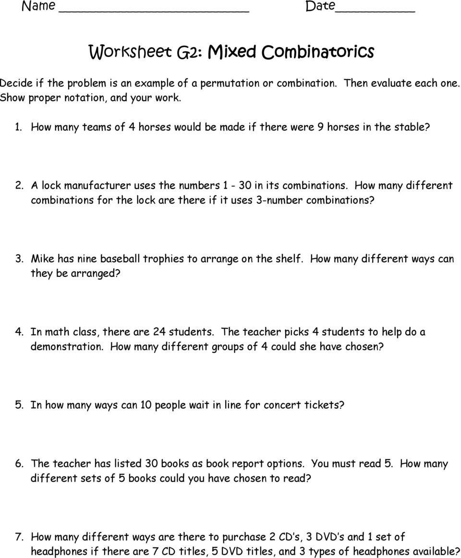 Permutations and Combinations Worksheet Worksheet A2 Fundamental Counting Principle Factorials