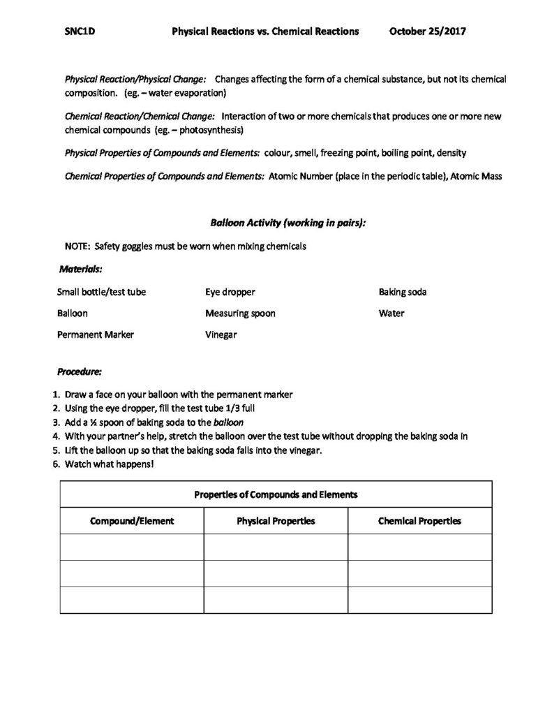 Physical Vs Chemical Properties Worksheet Physical Reactions Vs Chemical Reactions October 25 2017