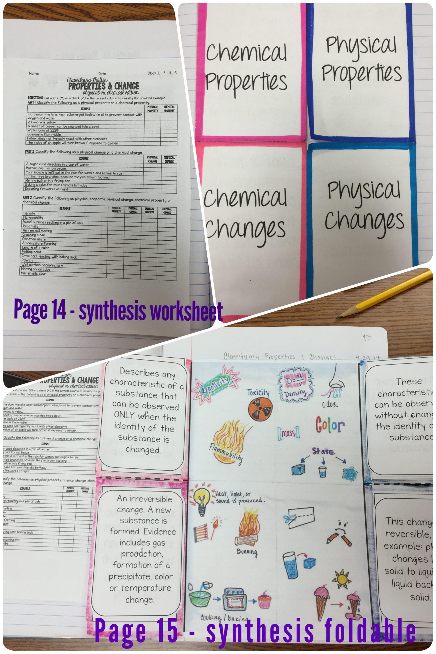 Physical Vs Chemical Properties Worksheet Synthesis Physical Vs Chemical Properties & Changes