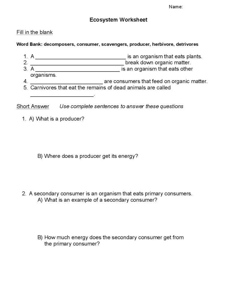 Planet Earth Freshwater Worksheet Answers Ecosystems Worksheet
