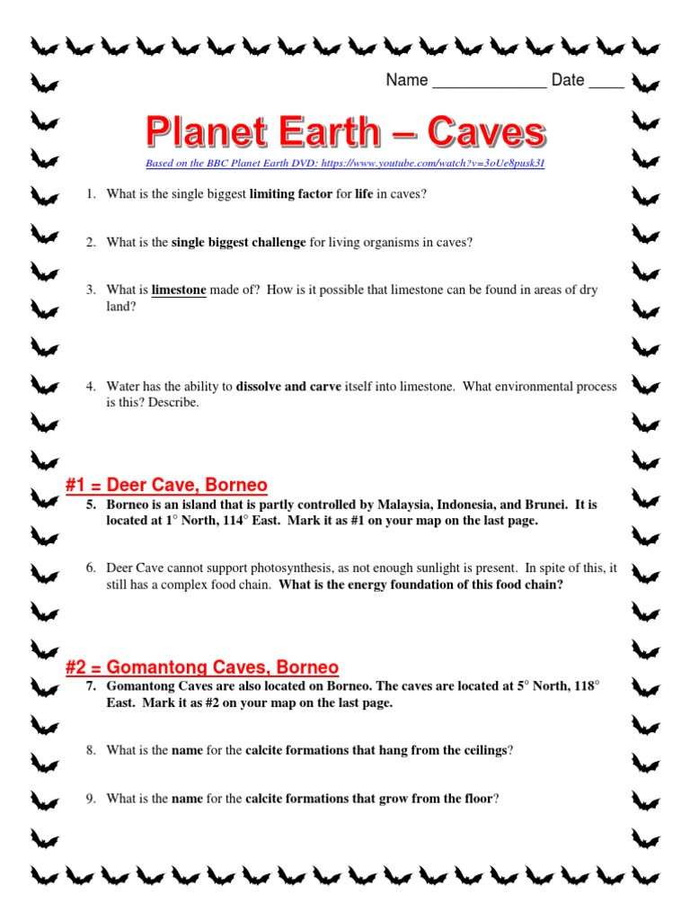 Planet Earth Freshwater Worksheet Answers Planet Earth Caves Worksheet Cave