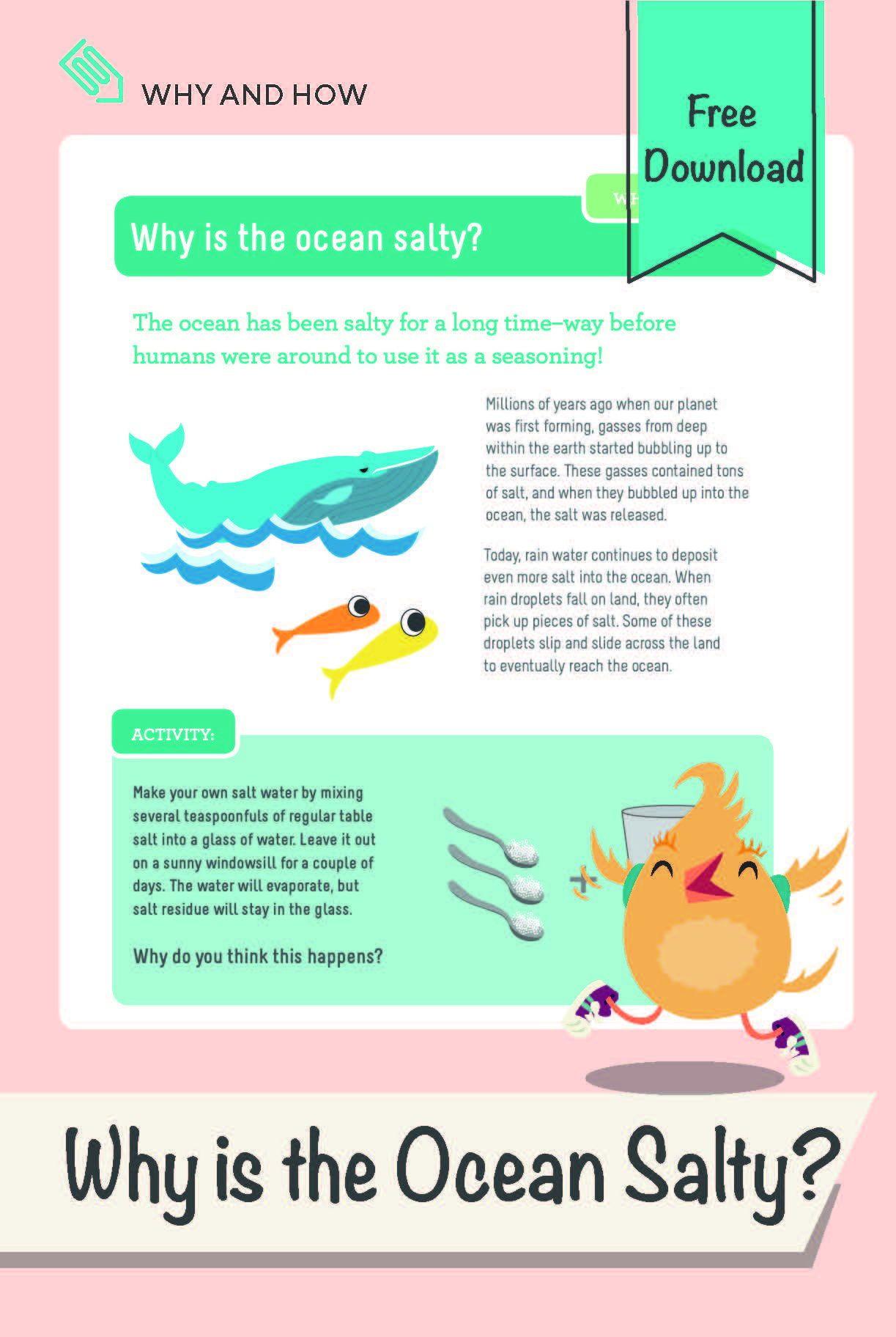 Planet Earth Ocean Deep Worksheet why is the Ocean Salty Worksheet