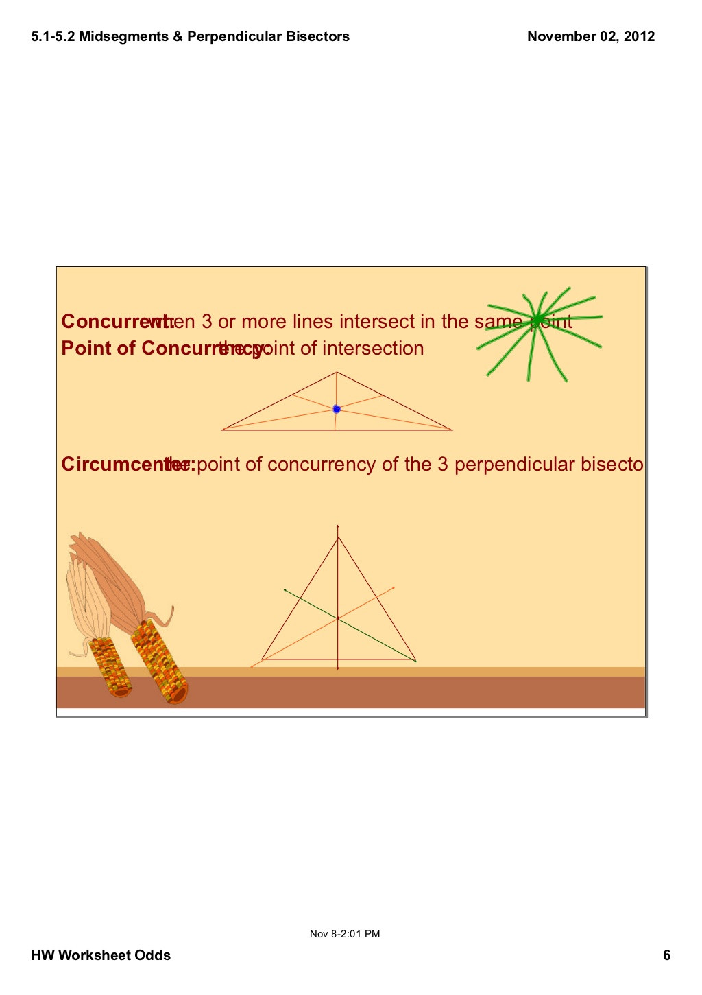 Points Of Concurrency Worksheet 5 1 5 2 Notes