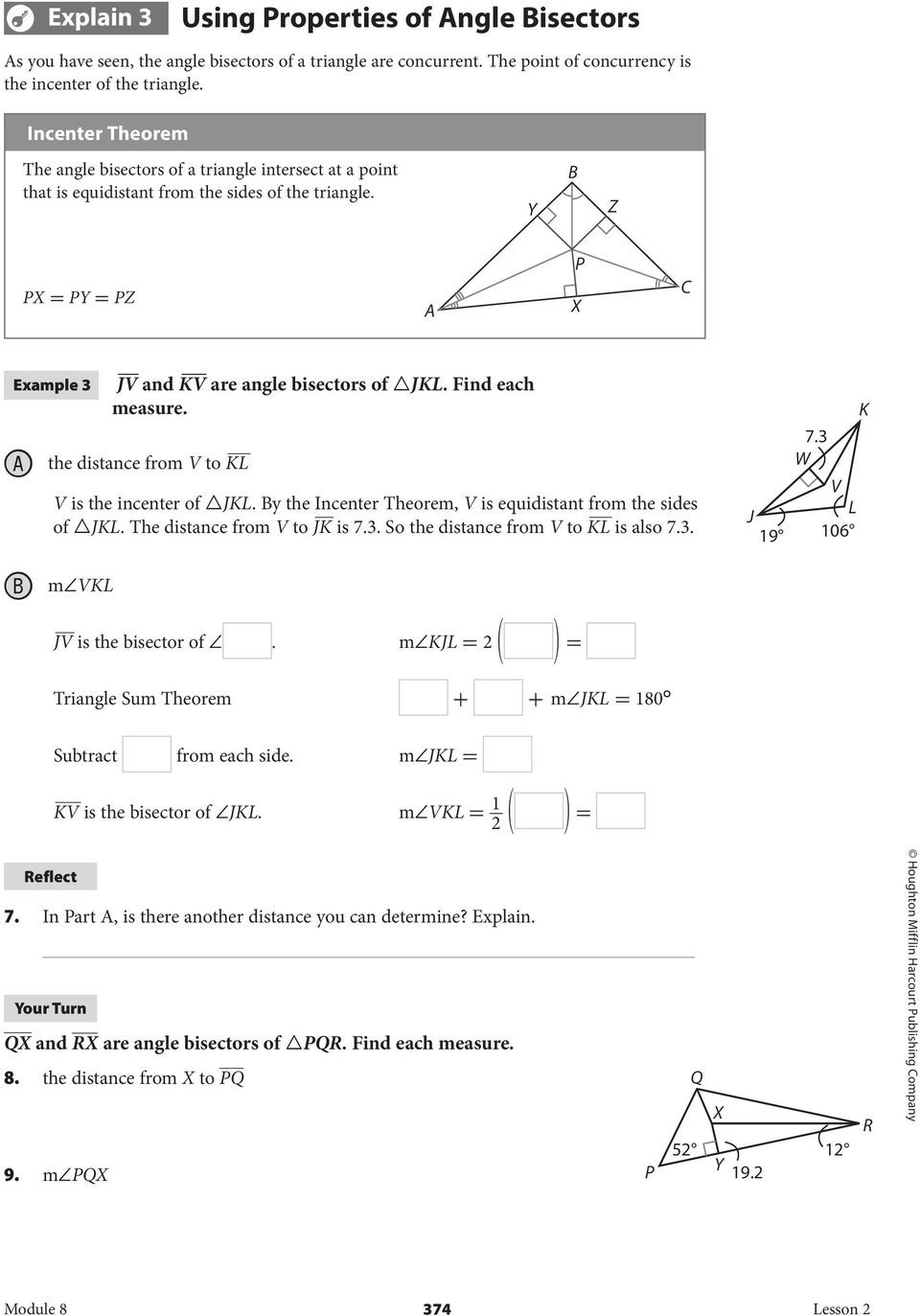 Points Of Concurrency Worksheet 8 2 Angle Bisectors Of Triangles Pdf Free Download
