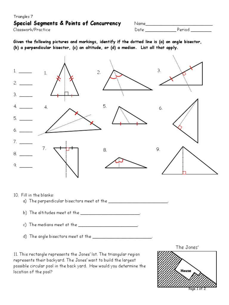 Points Of Concurrency Worksheet Answers D7 Special Segments Classwork Practice Triangle