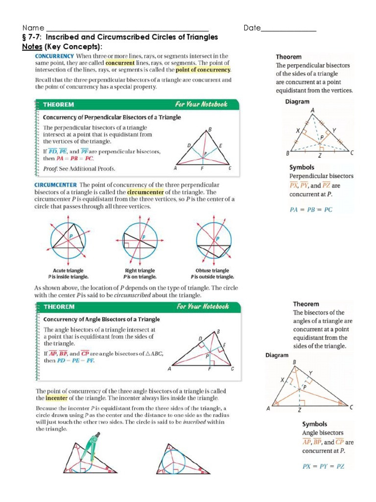 Points Of Concurrency Worksheet Answers Geometry Math Nation 7 7 Independent Practice Ws L with