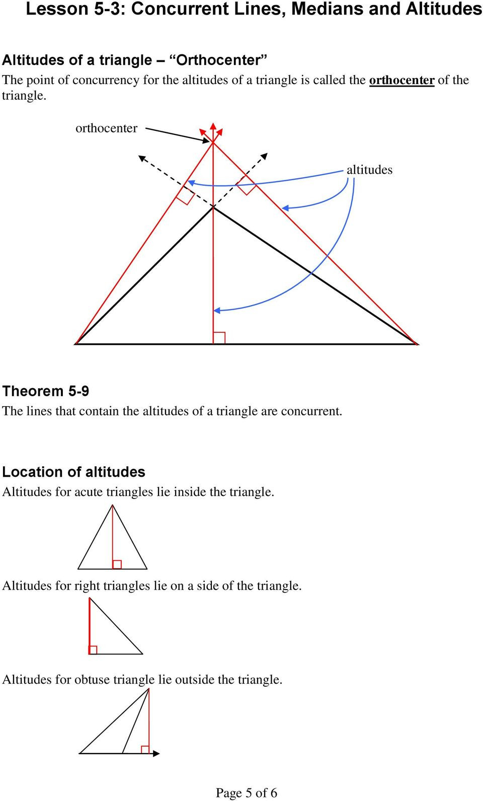 Points Of Concurrency Worksheet Answers Lesson 5 3 Concurrent Lines Medians and Altitudes Pdf