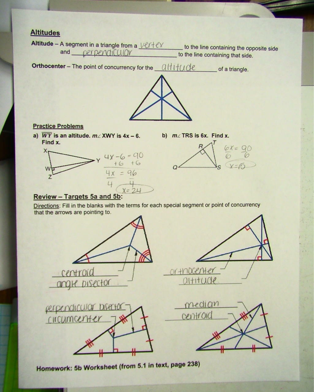 Points Of Concurrency Worksheet Answers Msbalboni