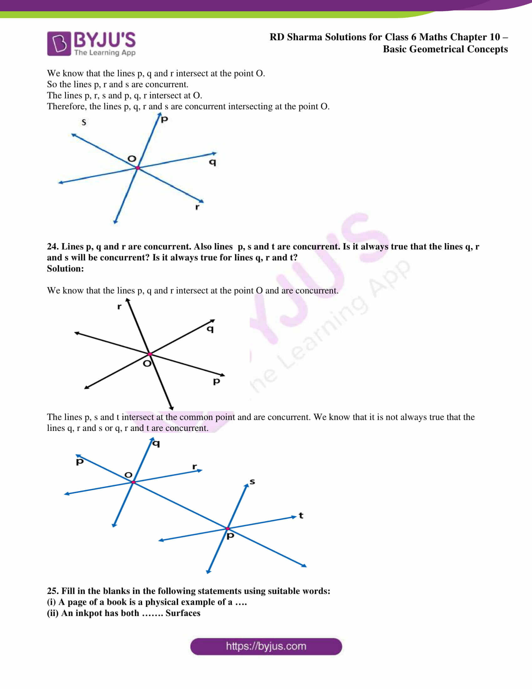 Points Of Concurrency Worksheet Answers Rd Sharma solutions for Class 6 Chapter 10 Basic Geometrical