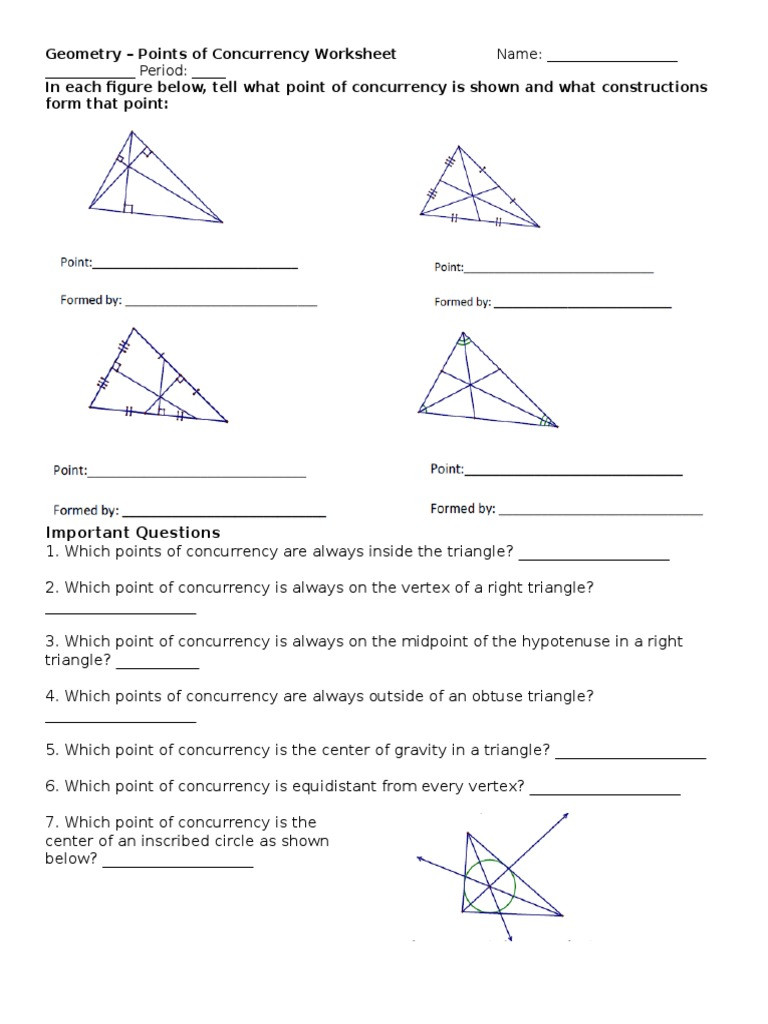 Points Of Concurrency Worksheet Points Concurrency Worksheet Promotiontablecovers