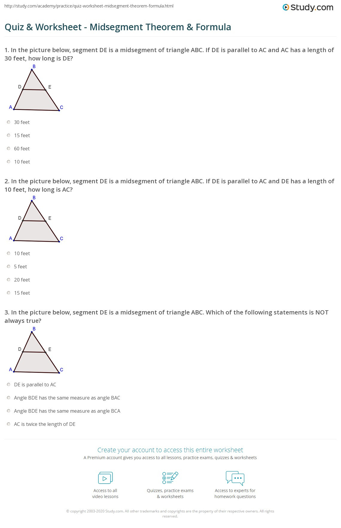 Points Of Concurrency Worksheet Triangle Midsegment theorem Worksheet