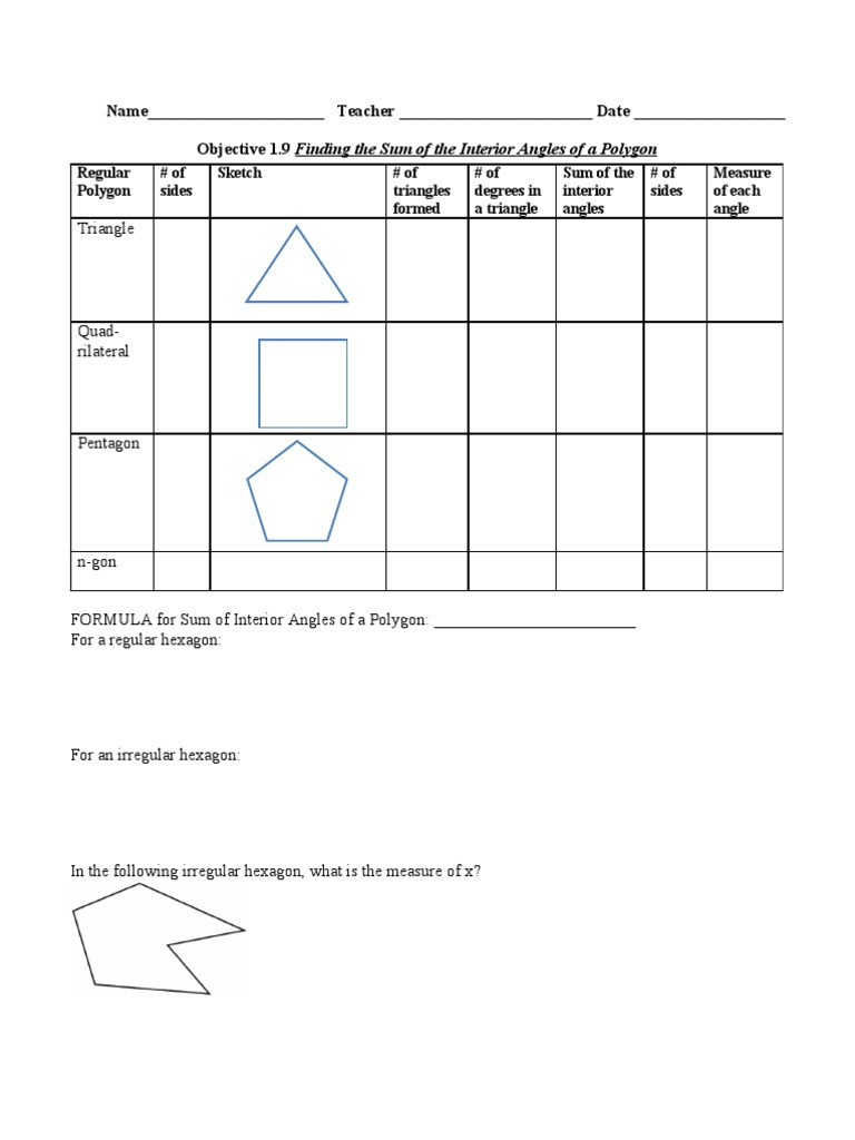 Polygon and Angles Worksheet 2 4 Finding the Sum Of Interior Angles Of Polygons