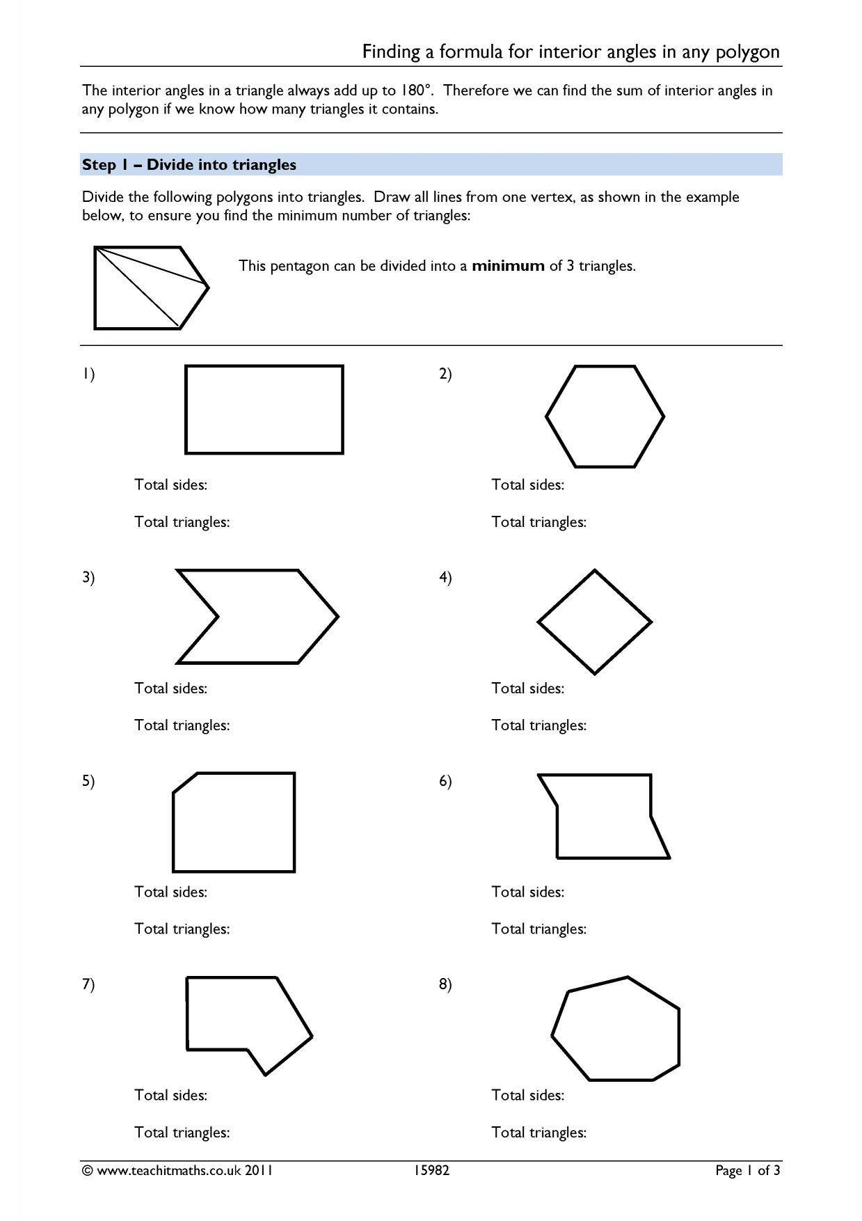 Polygon and Angles Worksheet Finding A formula for Interior Angles In Any Polygon