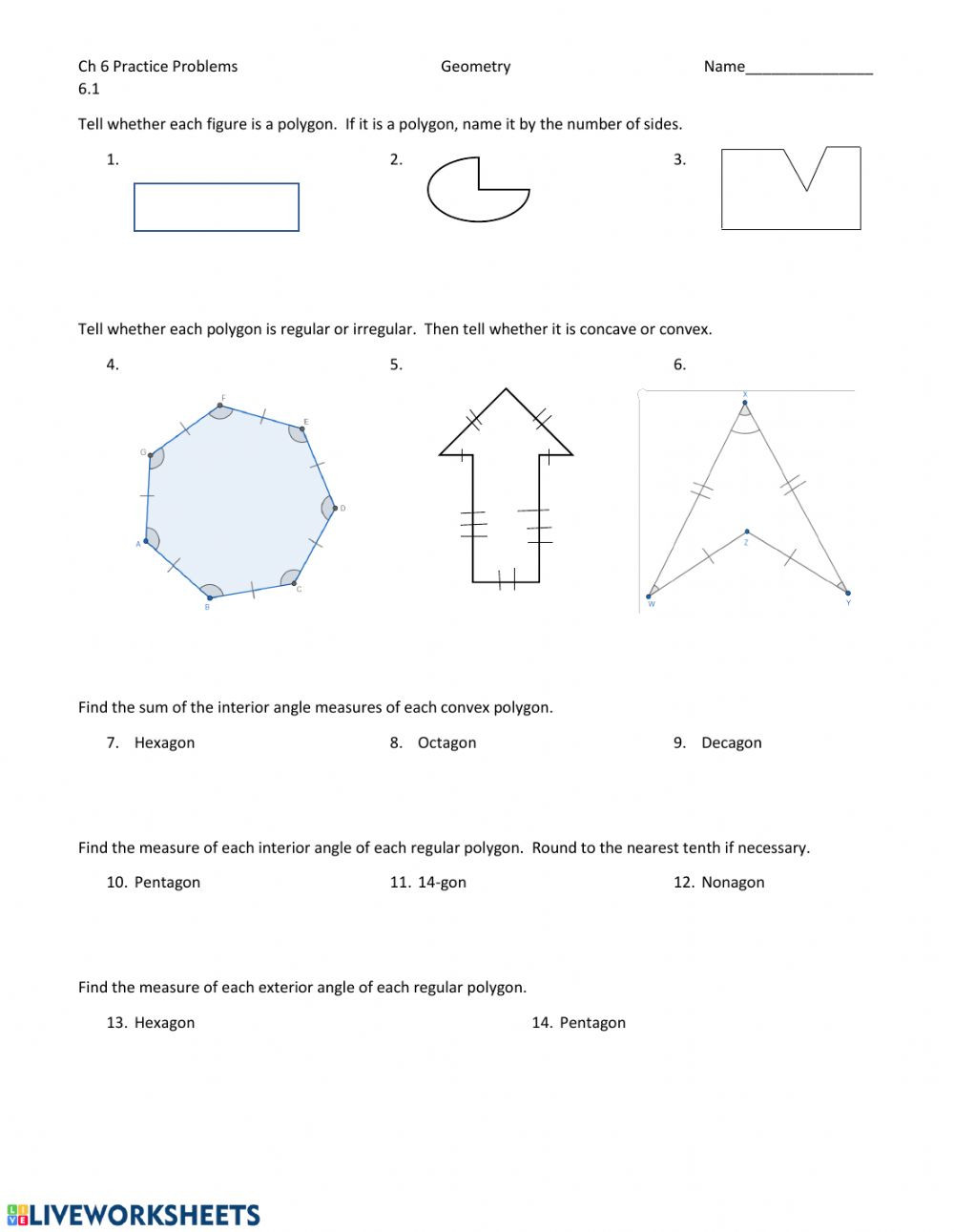 Polygon and Angles Worksheet Polygons and Quadrilaterals Interactive Worksheet
