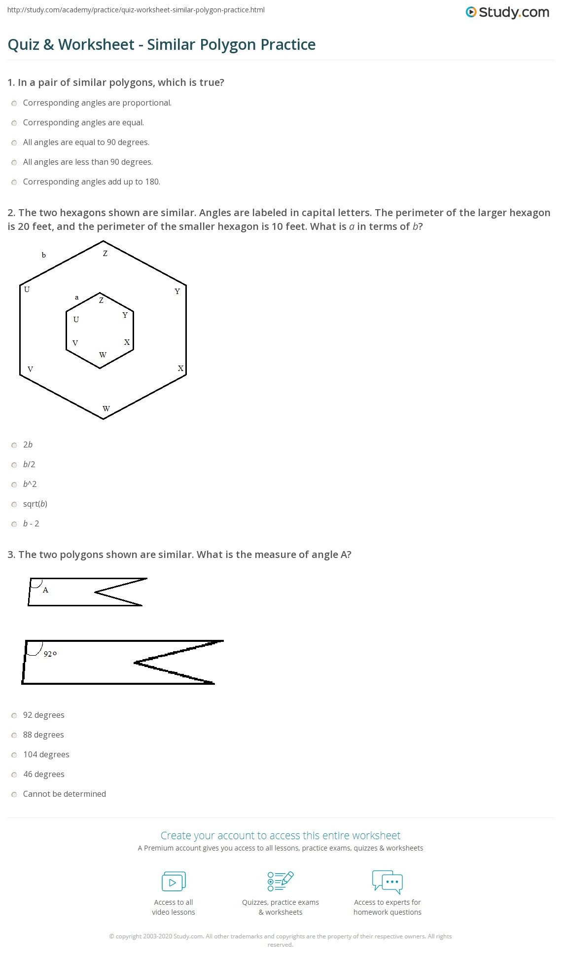 Polygon and Angles Worksheet Quiz & Worksheet Similar Polygon Practice