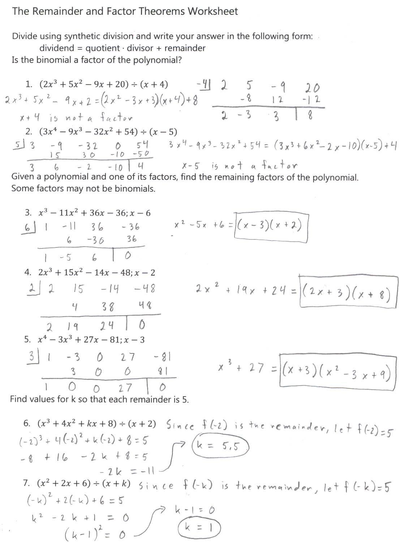 Polynomial Long Division Worksheet 34 Algebra 2 Dividing Polynomials Worksheet Answers