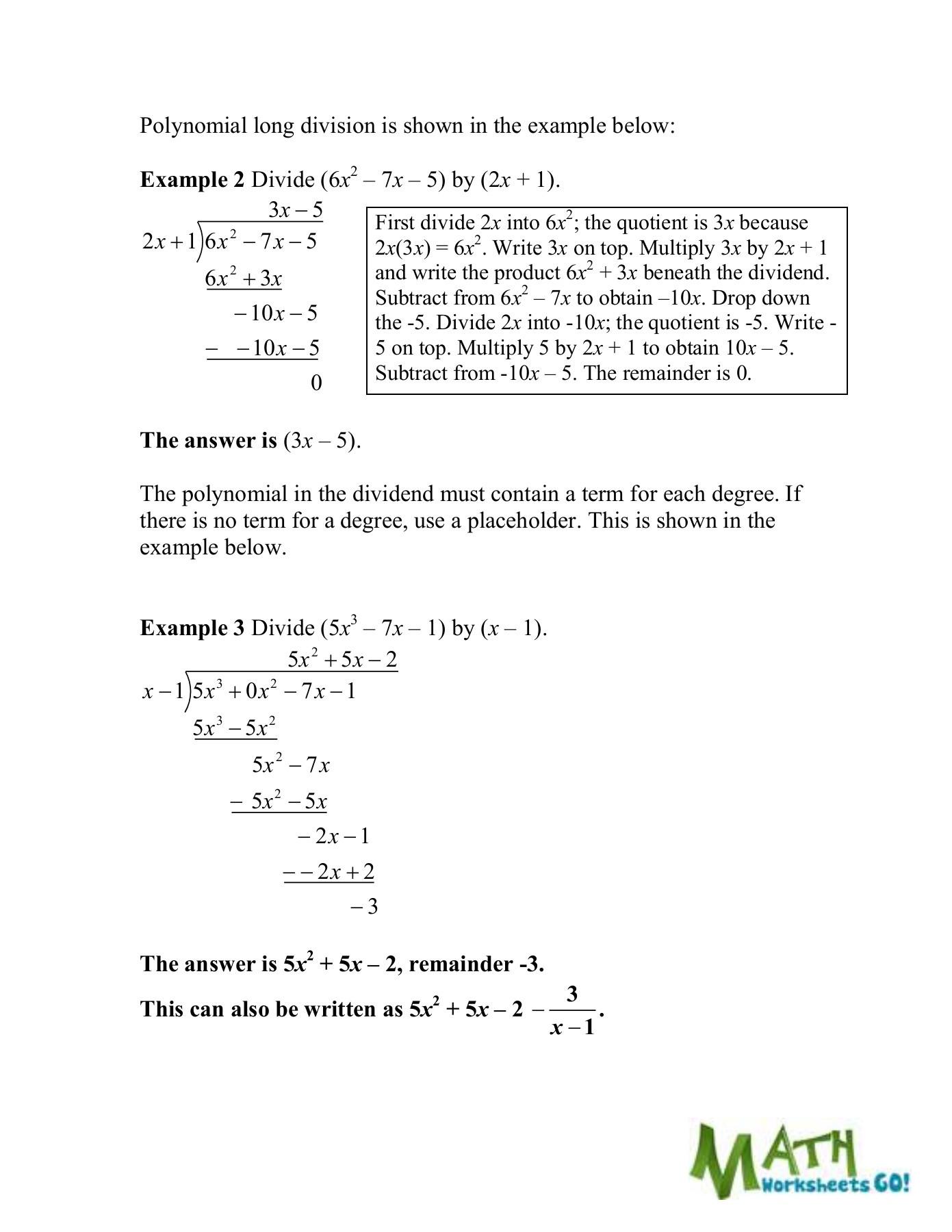 Polynomial Long Division Worksheet Dividing Polynomials Worksheet