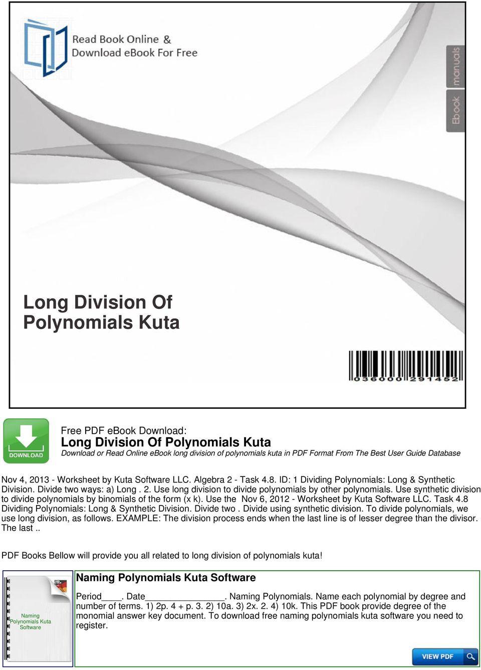 Polynomial Long Division Worksheet Long Division Polynomials Kuta Pdf Free Download