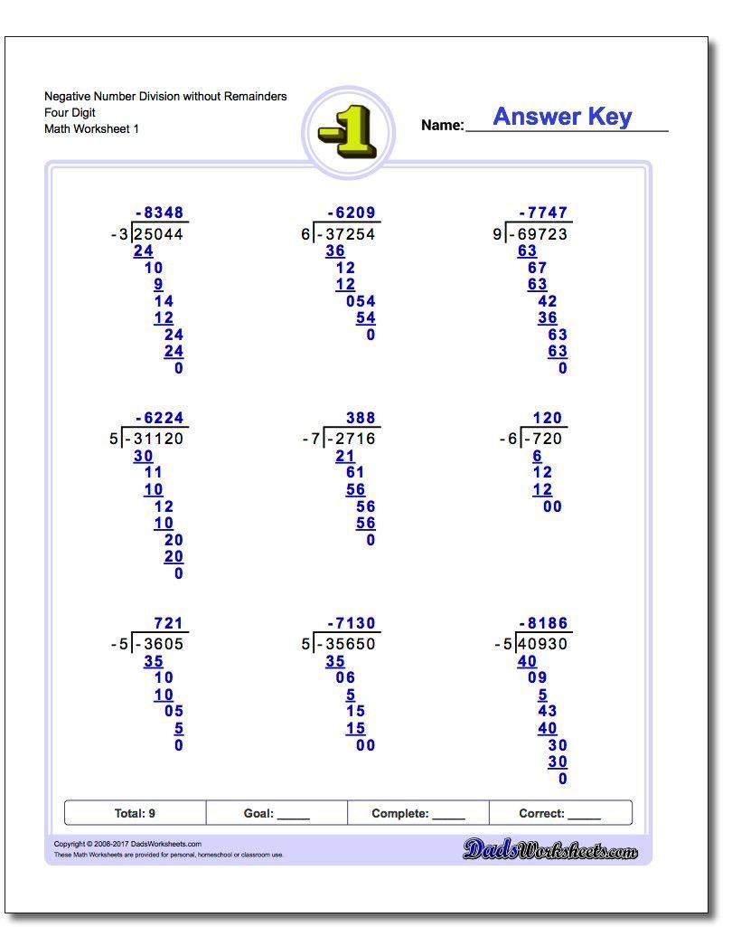 Polynomial Long Division Worksheet Long Division with Negative Numbers Division Longdivision