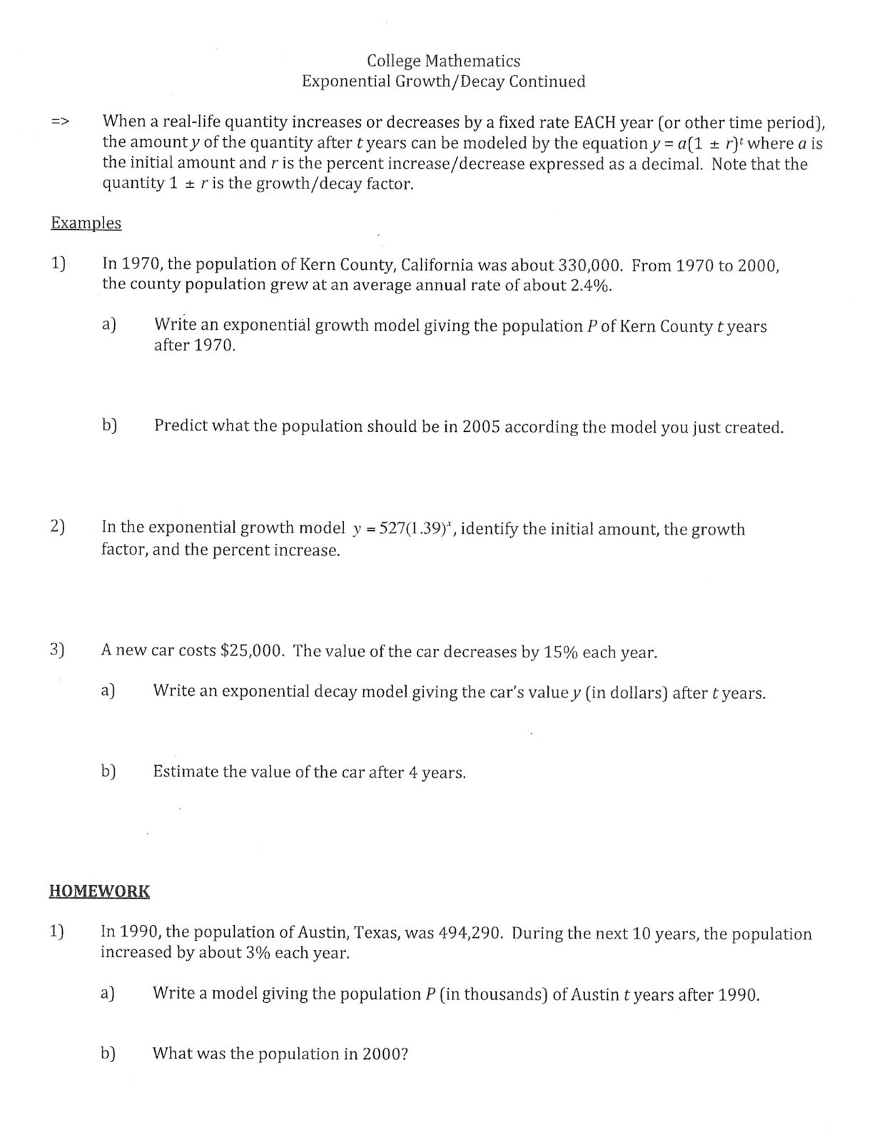Population Growth Worksheet Answers Exponential Growth Functions Worksheet
