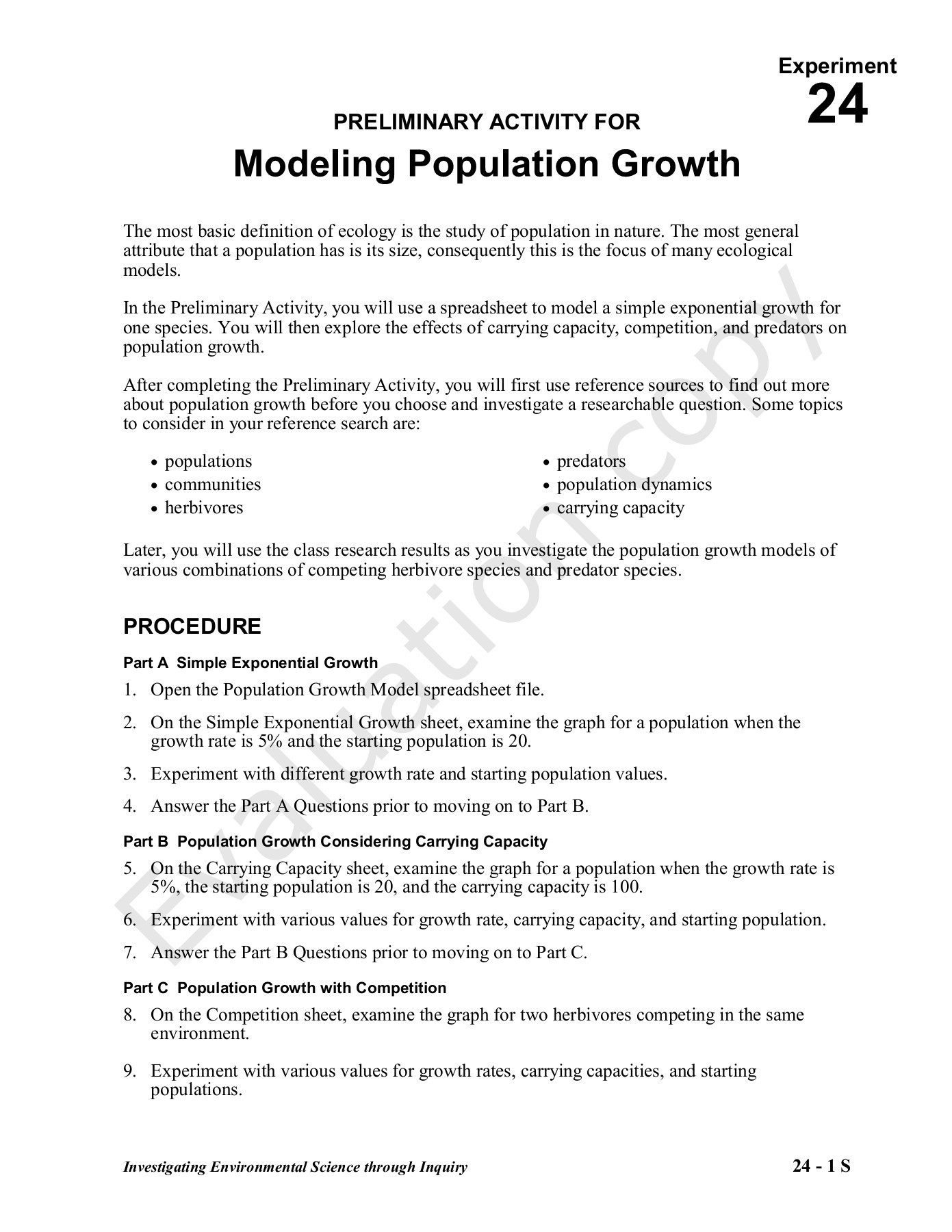 Population Growth Worksheet Answers Preliminary Activity for Modeling Population Growth Pages 1