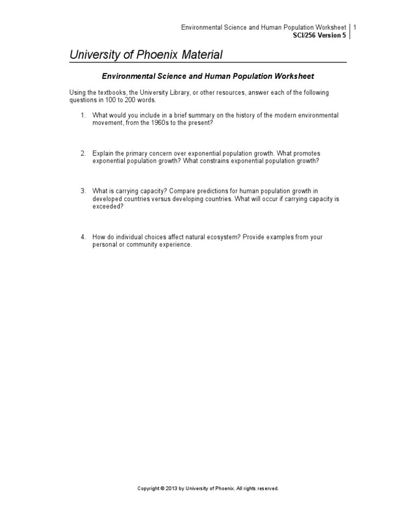 Population Growth Worksheet Answers Sci256 R5 Environmental Science and Human Populations