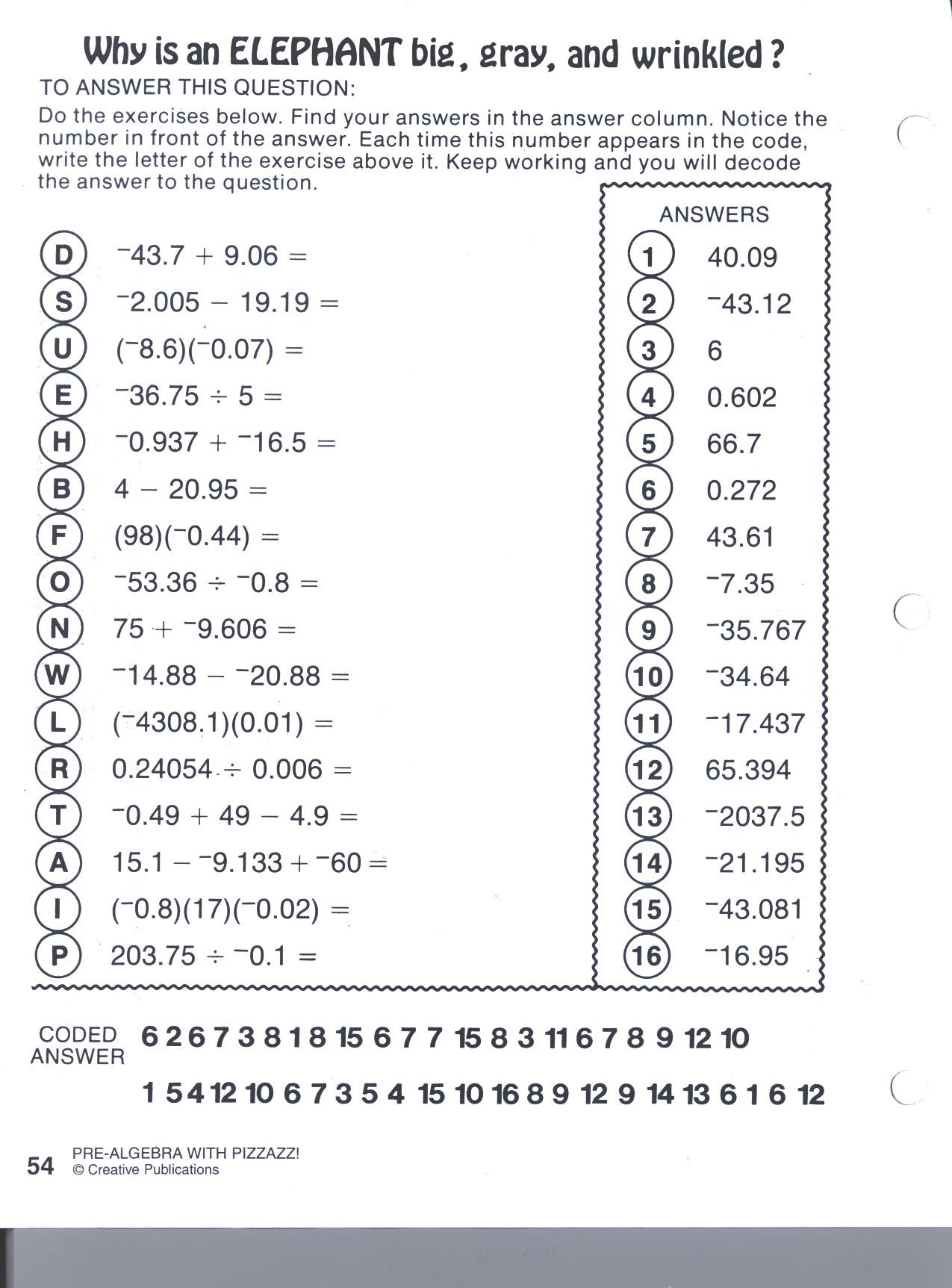 Pre Algebra Review Worksheet Pre Algebra with Pizzazz Worksheet Answers Resource Math