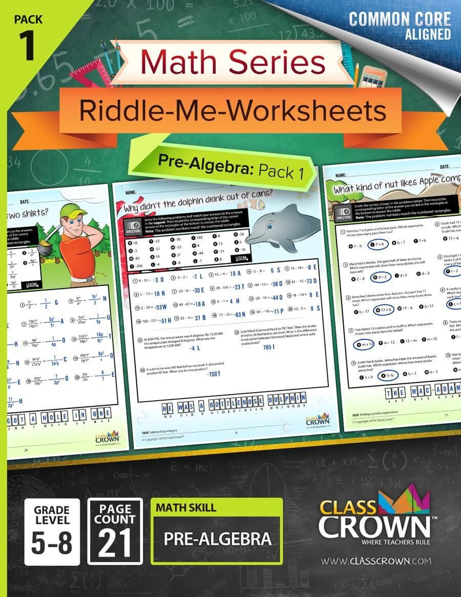 Pre Algebra Review Worksheet Pre Algebra Worksheets Pack 1 Math Worksheets