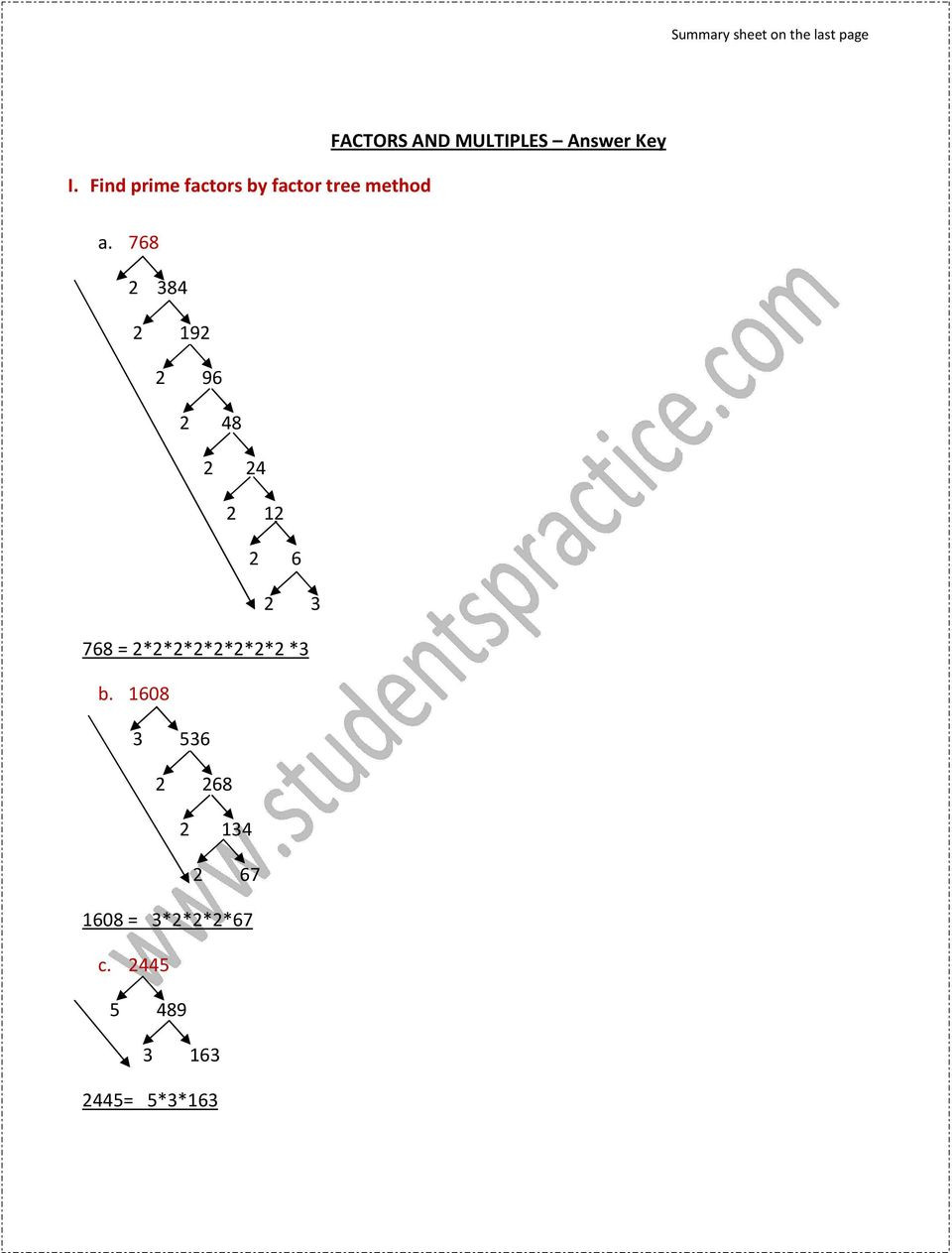 Prime Factorization Tree Worksheet Factors and Multiples Answer Key Pdf Free Download