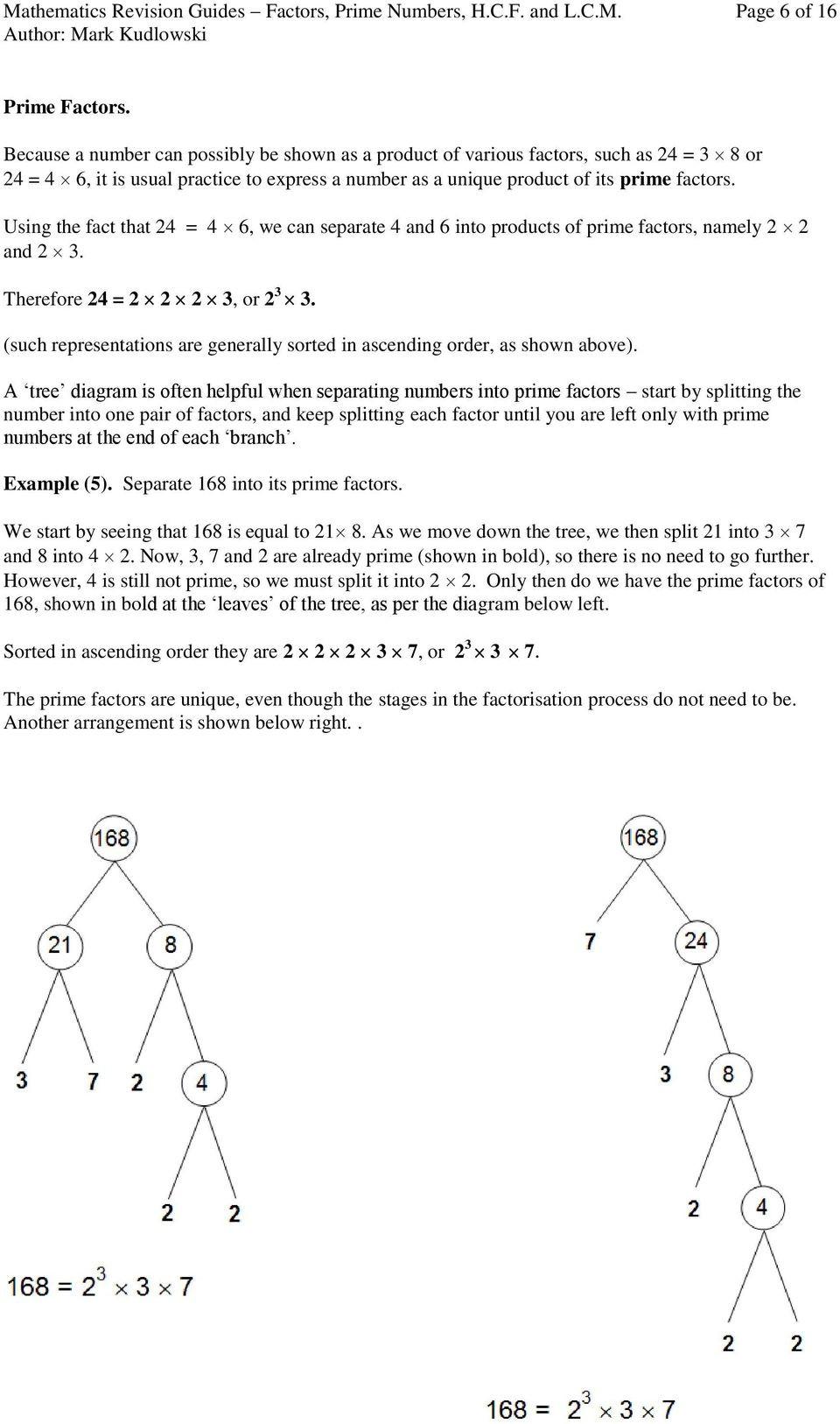 Prime Factorization Tree Worksheet Factors Prime Numbers H C F and L C M Pdf Free Download