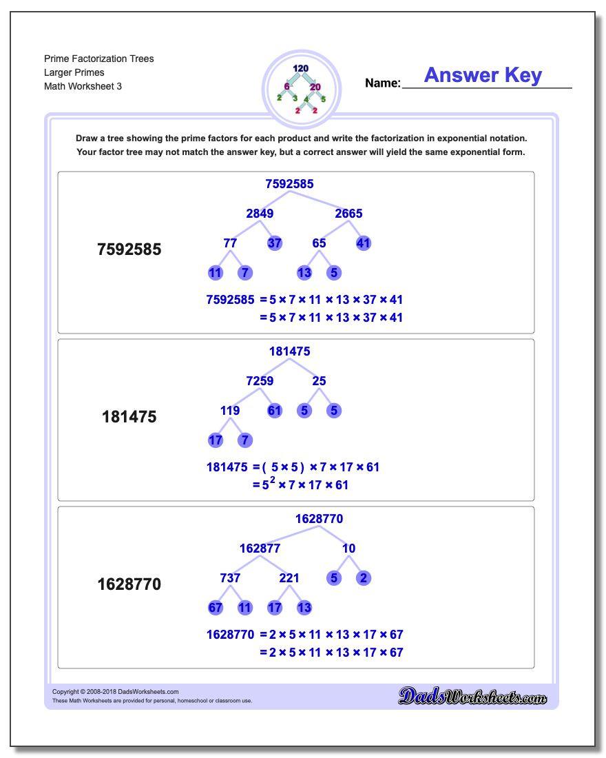 Prime Factorization Tree Worksheet Prime Factorization
