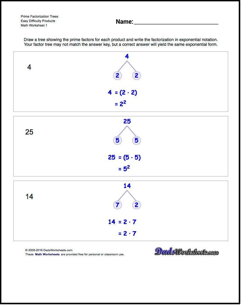 Prime Factorization Tree Worksheet Prime Factorization Worksheets these Worksheets Require