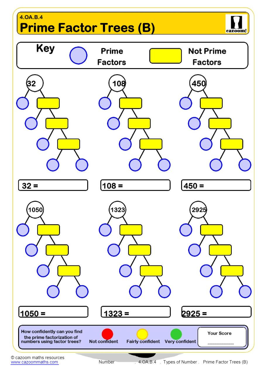 Prime Factorization Tree Worksheet Primes and Posites Worksheets