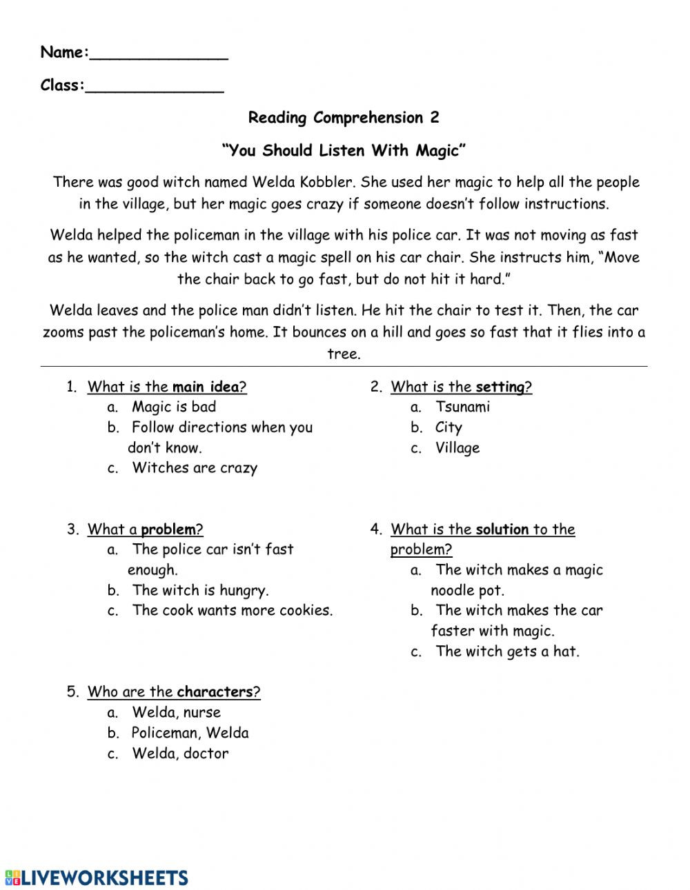 Problem and solution Worksheet Reading Prehension Follow Directions Interactive