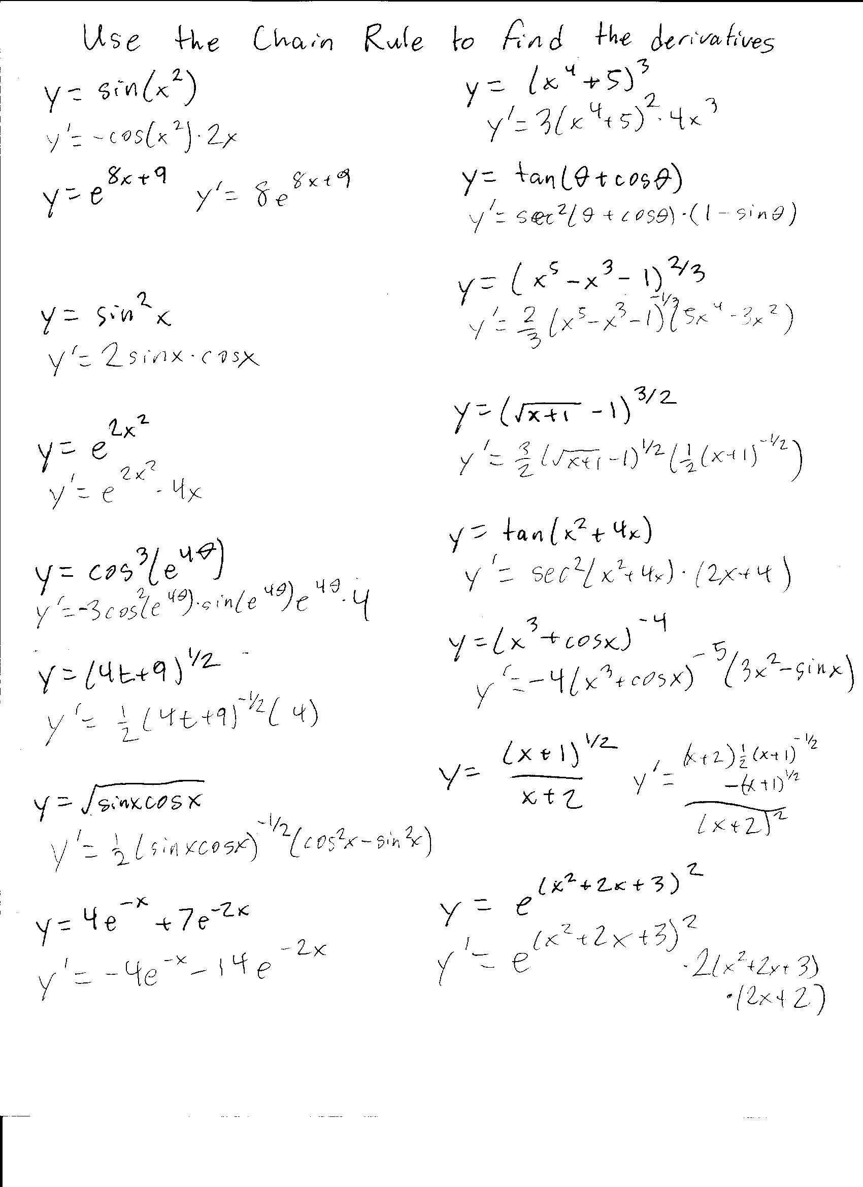Product and Quotient Rule Worksheet Chain Rule Worksheet