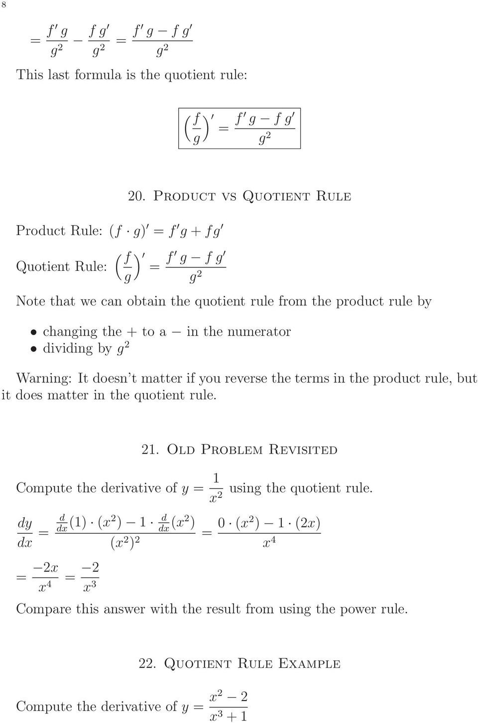 Product and Quotient Rule Worksheet Math 229 Lecture Notes Product and Quotient Rules Professor