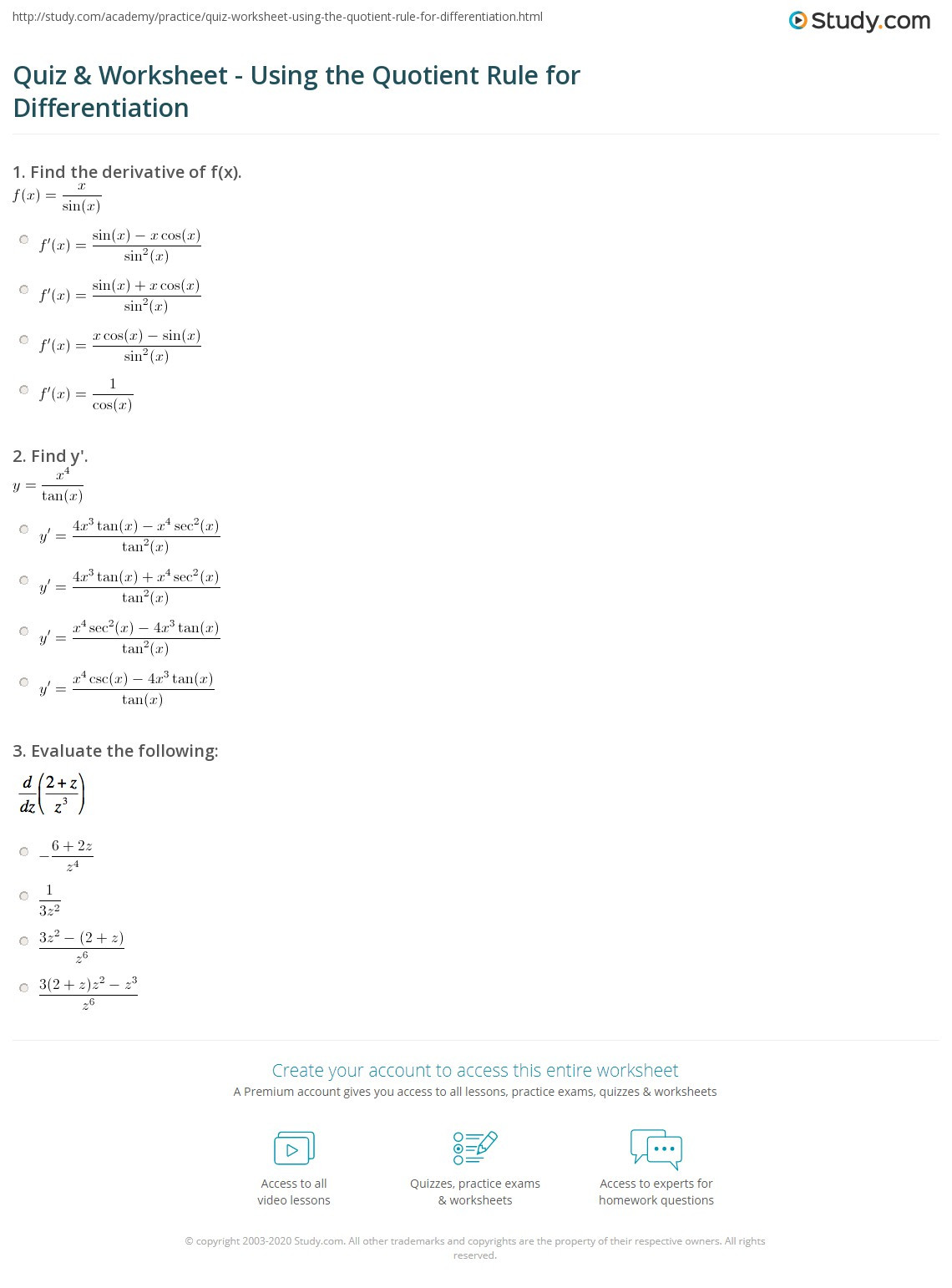 Product and Quotient Rule Worksheet Quiz & Worksheet Using the Quotient Rule for