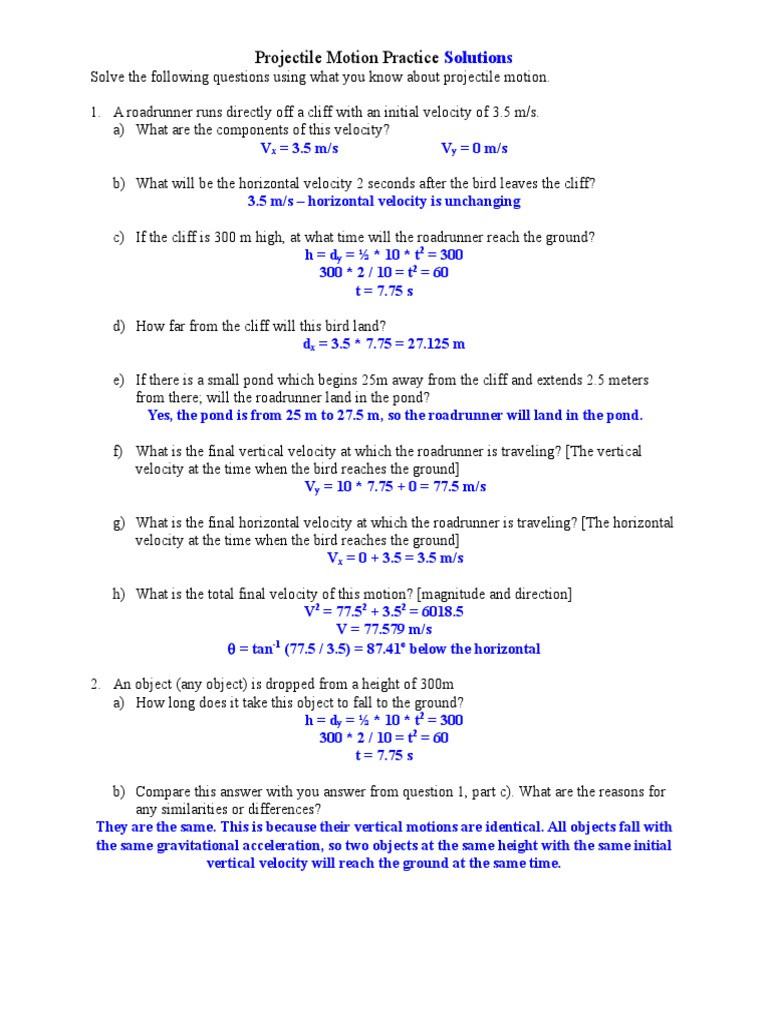 Projectile Motion Worksheet Answers More Projectile Motion Practice Problems and solutions