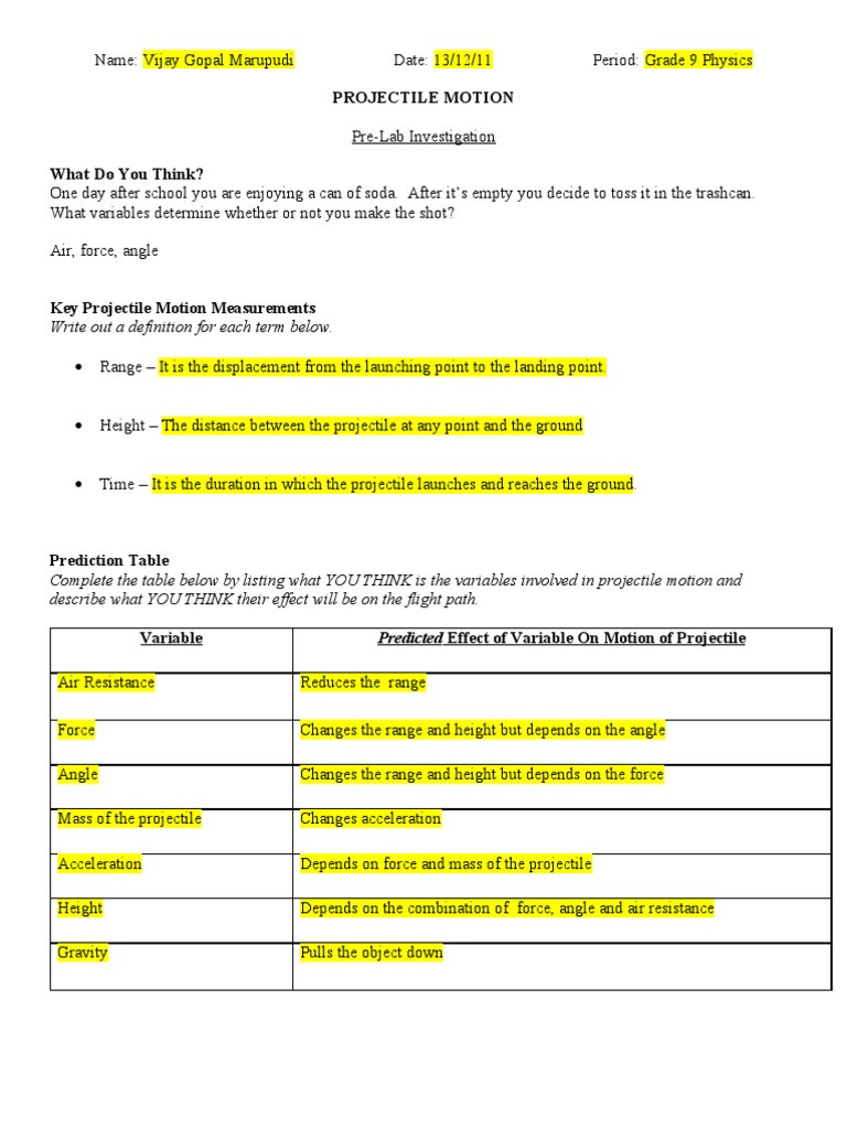 Projectile Motion Worksheet Answers Physics Projectile Lab Projectiles