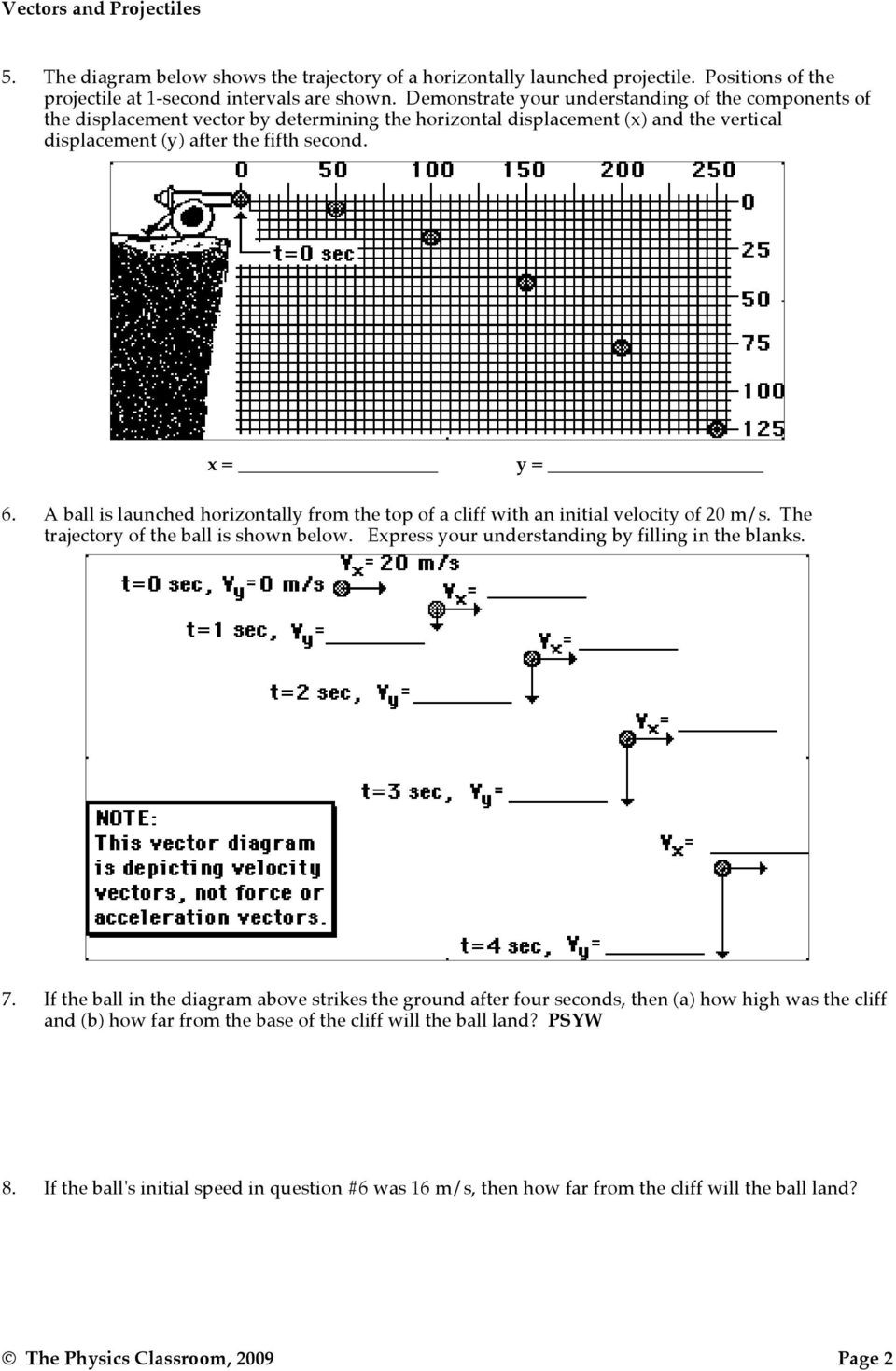 Projectile Motion Worksheet Answers Projectile Motion Vectors and Projectiles Pdf Free Download