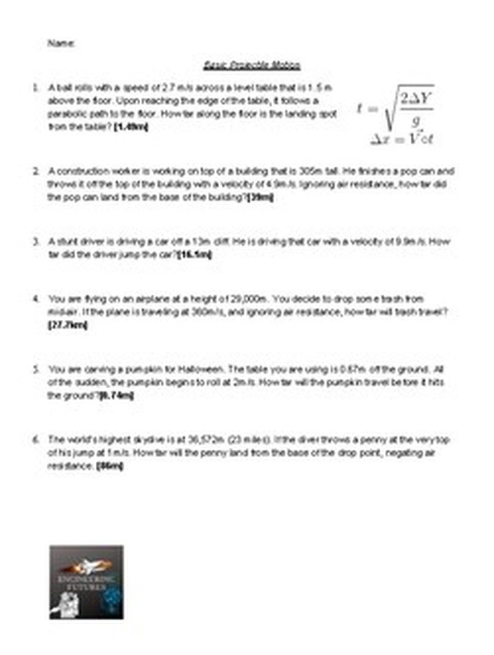 Projectile Motion Worksheet Answers Projectile Motion Worksheets