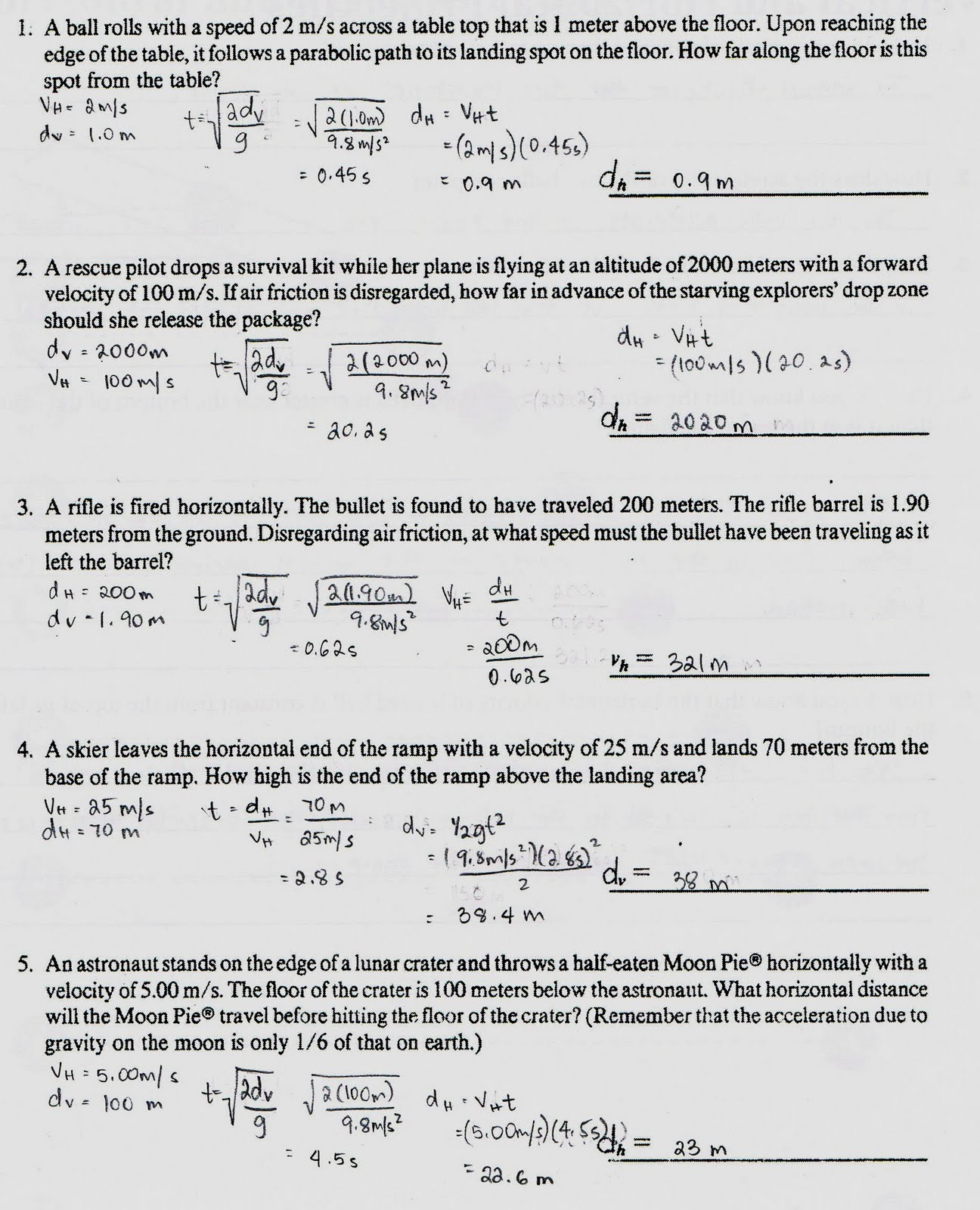 Projectile Motion Worksheet Answers Transparency 6 1 Worksheet the Trajectory A Projectile
