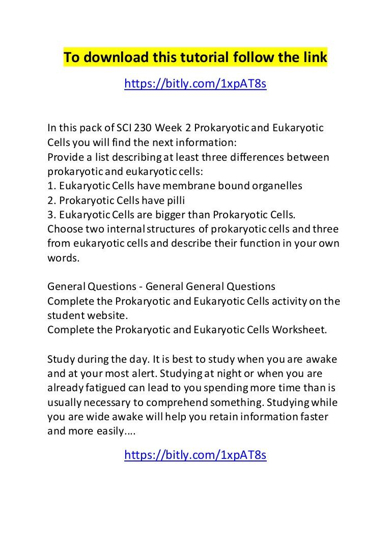 Prokaryote Vs Eukaryote Worksheet Sci 230 Week 2 Prokaryotic and Eukaryotic Cells