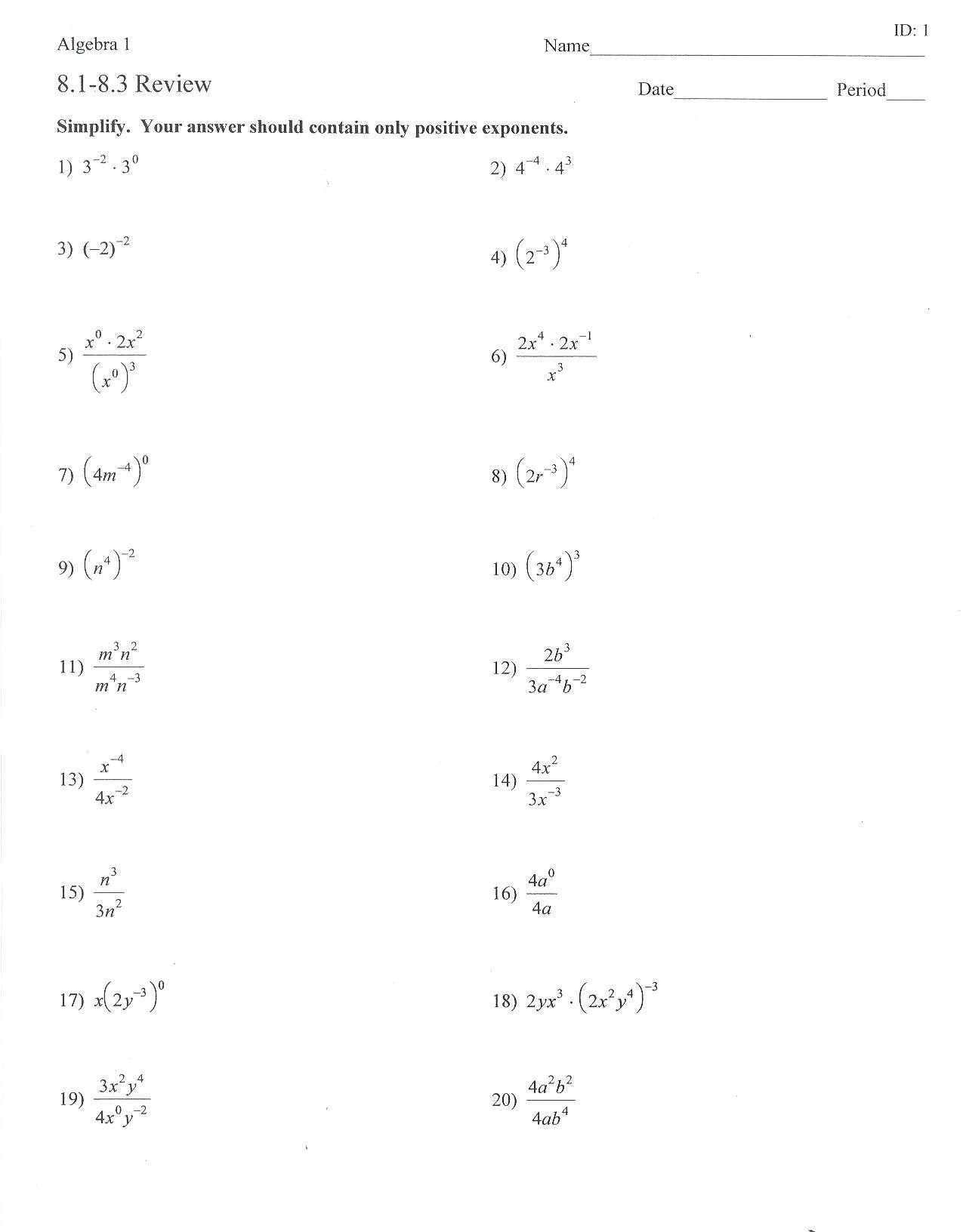 Properties Of Exponents Worksheet Answers 34 Negative Exponents Worksheet Answers Worksheet Project List