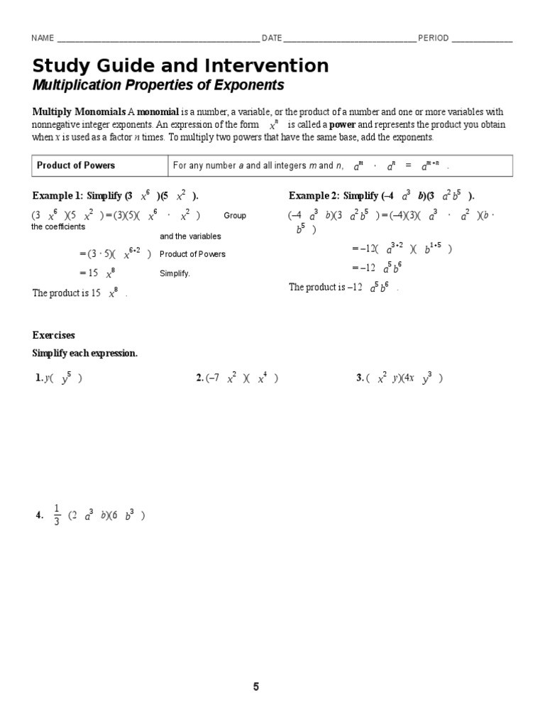 Properties Of Exponents Worksheet Answers 7 1 Multiplication Properties Of Exponents Worksheet