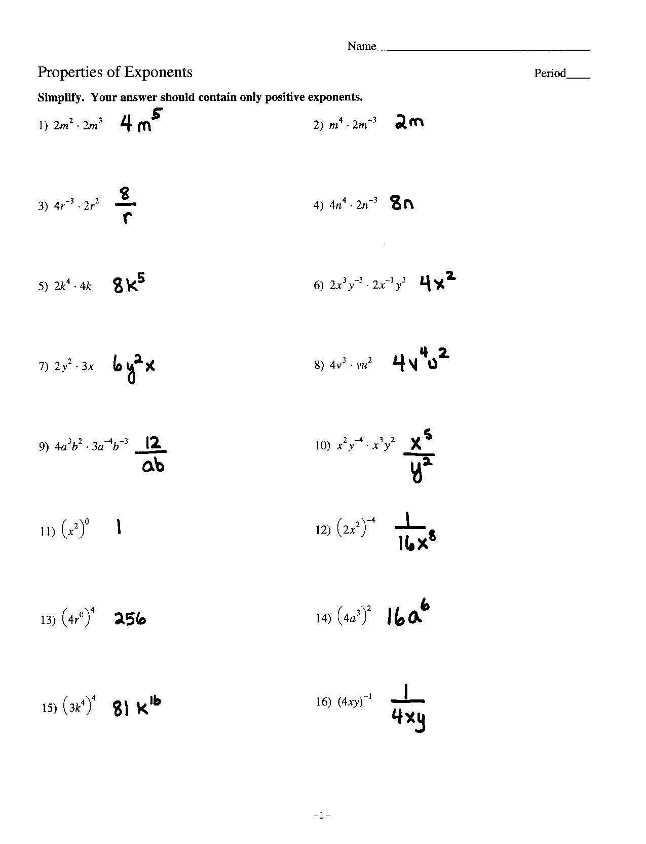 Properties Of Exponents Worksheet Answers Exponents Algebra 1 Worksheets
